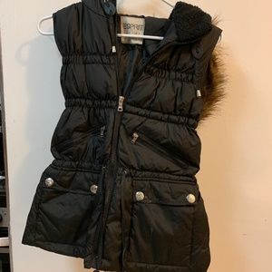 Esprit Black Puffer Vest with Hoodie and Fur